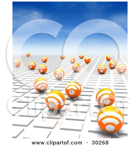 Clipart Illustration of a Blue Sky Above Orange Blogging RSS Spheres On A White Tile Textured Surface Leading Off Into The Distance by Tonis Pan