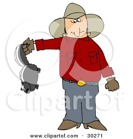 Clipart Illustration of a Frustrated Cowboy Holding A Skunk That's Been Torturing His Farm With Stinky Spray by djart