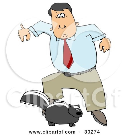 Clipart Illustration of a Man Leaping Back From A Skunk That Is Preparing To Spray by djart