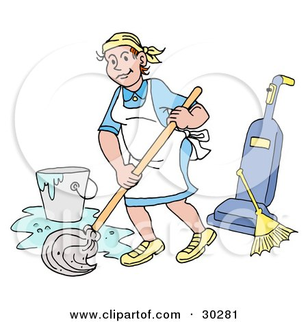 Cartoon of Pretty House Keeper Women in Togas - Royalty Free ...