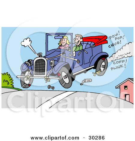 Clipart Illustration of a Happy Man And Woman Catching Air In Their Convertible Antique Car, Pieces Of It Falling Off by LaffToon