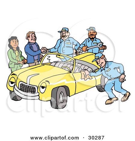 Clipart Illustration of a Group Of Friendly Mechanics Finishing Up Work On A Yellow Classic Convertible Car Owned By A Couple by LaffToon