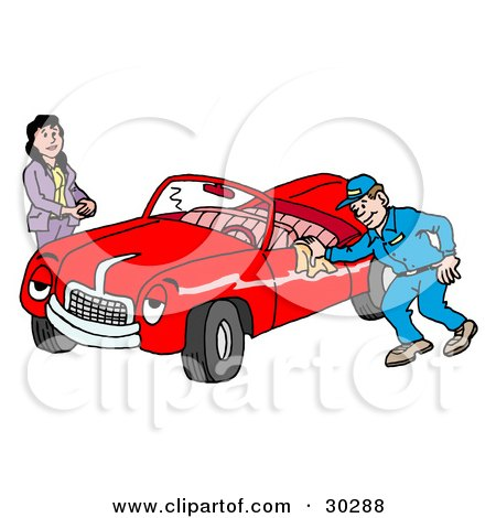 Clipart Illustration of a Pleasant Auto Mechanic Man Smiling While Shining A Classic Red Convertible Car For A Lady by LaffToon