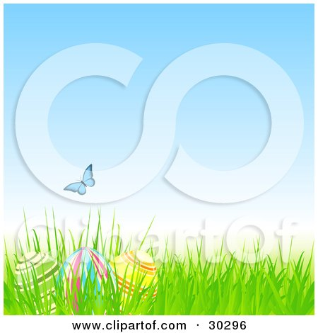 Blue Butterfly Over Three Easter Eggs Hidden In Grass Under A Blue Spring Sky Posters, Art Prints