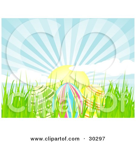 Clipart Illustration of Three Colorful Easter Eggs In Spring Grass, Under A Beautiful Morning Sunrise With Rays Of Light In The Blue Sky by elaineitalia