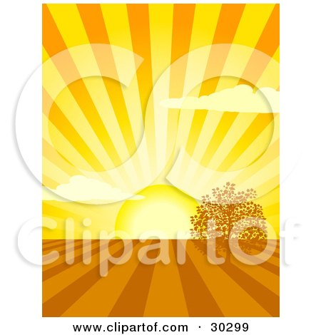 Clipart Illustration of a Bright Yellow Sun Shining Rays Over Cultivated Farm Land With One Tree by elaineitalia