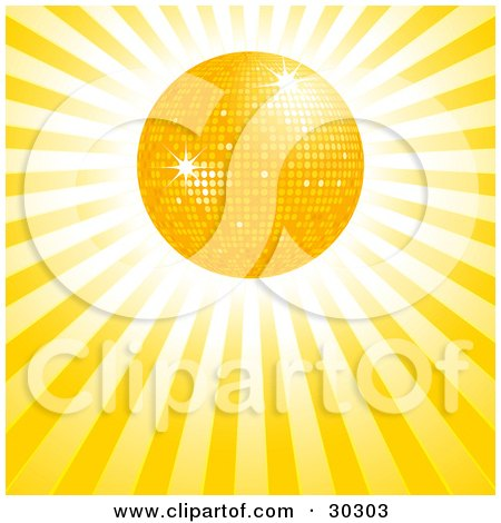 Clipart Illustration of a Bright Yellow Disco Sun In A Bursting Sky Of Rays Of Light by elaineitalia