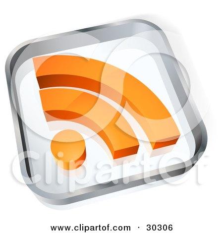 Clipart Illustration of a Transparent Glass Block With An Orange RSS Blogging Symbol by beboy