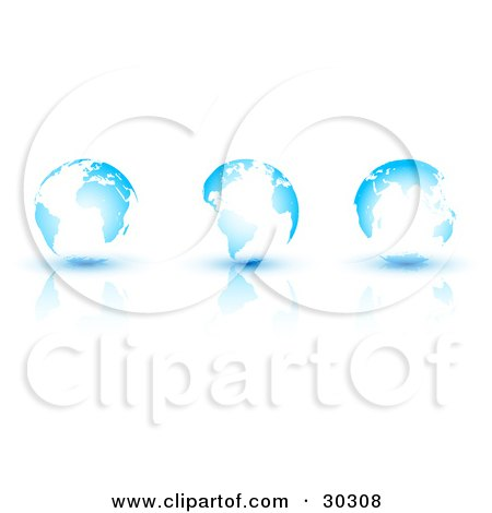 Clipart Illustration of Three Bright White And Blue Globes On A Reflective Surface  by beboy