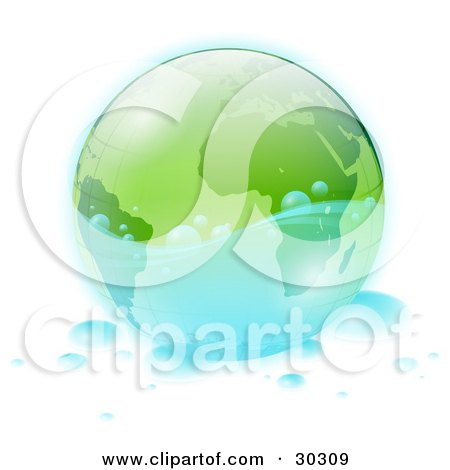 Clipart Illustration of Clear Clean Water Splashing Around A Green Globe, With Water Drops Scattered Around  by beboy