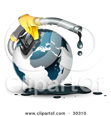 Clipart Illustration of a Yellow Gasoline Nozzle Dripping Black Oil Around A Globe by beboy