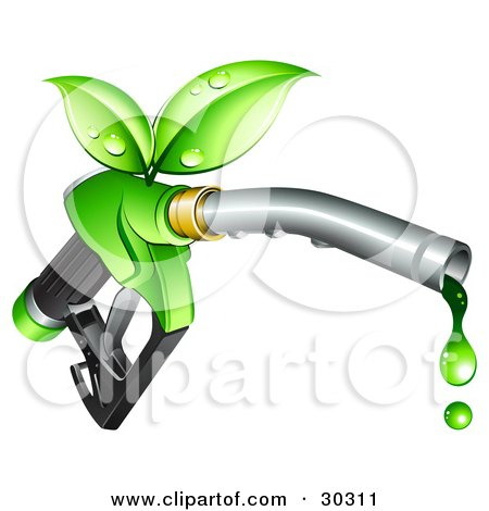 Green Leaves Sprouting From A Fuel Nozzle Dripping With Bio Fuel Posters, Art Prints
