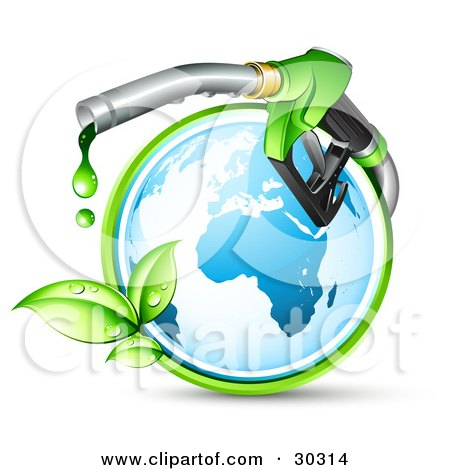 Clipart Illustration of a Blue Globe Circled By A Green Vine, With A Large Nozzle Dripping Green Bio Fuel by beboy