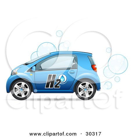 Blue Compact Water Powered Car Blowing Bubbles Out Of The Exhaust Posters, Art Prints