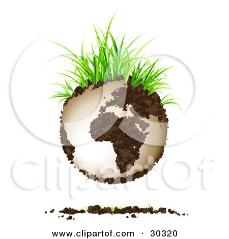 Clipart Illustration of Green Grasses Sprouting From Soil Continents On Planet Earth, With A Dirt Shadow by beboy