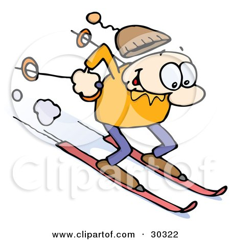 Clipart Illustration of a Happy Caucasian Guy Skiing Fast Downhill On Skis, Holding Poles Behind Him, His Cap Flying Off His Head by gnurf