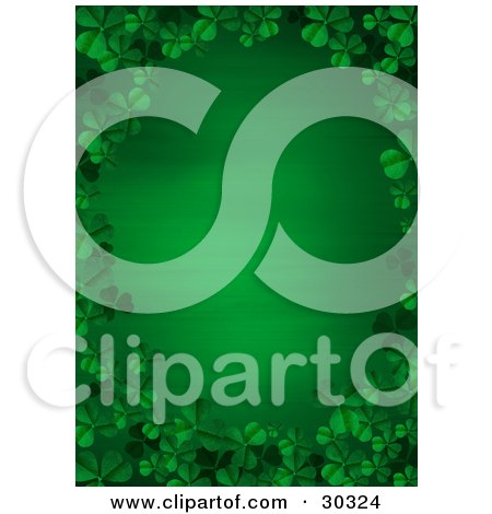 Clipart Illustration Of A Gradient Green St Patricks Day Stationery Background Bordered By Green 3d Clover Leaves