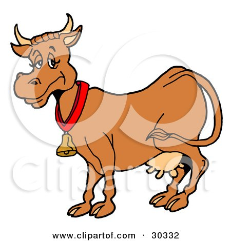 Clipart Illustration of a Happy Brown Dairy Cow With Full Udders, Wearing A Bell Around Its Neck by LaffToon