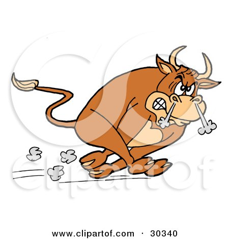 Raging Brown Charging Bull Running With Smoke Coming Out Of His Nose Posters, Art Prints