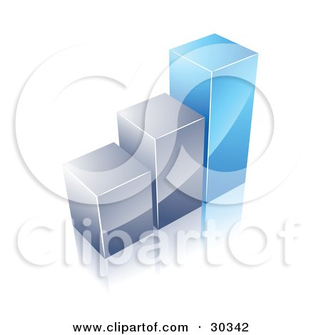 Clipart Illustration of a Financial Bar Graph Of Two Silver Columns And One Tall Blue One by beboy