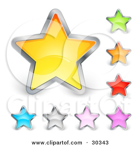 Clipart Illustration of a Set Of Yellow, Green, Orange, Red, Purple, Pink, Silver And Blue Stars Trimmed In Chrome by beboy
