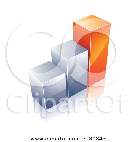 Clipart Illustration of a Financial Bar Graph Of Two Chrome Columns And One Tall Orange One by beboy