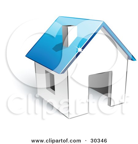 Clipart Illustration of a Pre-Made Logo Of A White Home With A Blue Roof by beboy