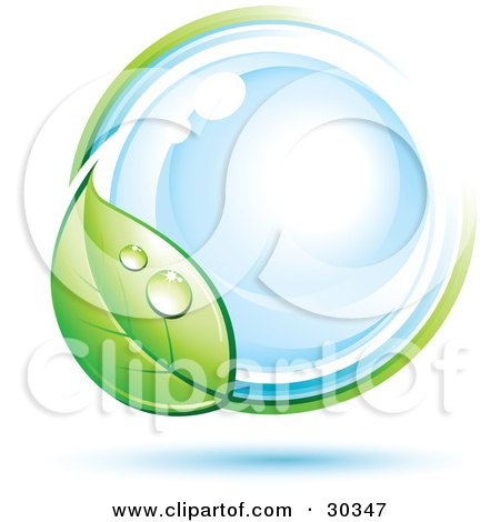 Clipart Illustration of a Pre-Made Logo Of A Dewy Green Leaf Circling A Blue Orb by beboy