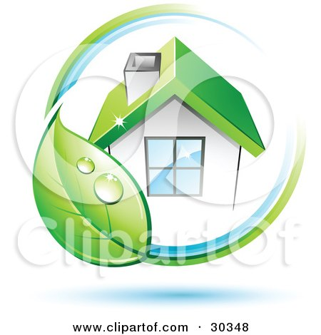 Clipart Illustration of a Pre-Made Logo Of Dewy Green Leaf Circling A Home With A Green Roof by beboy