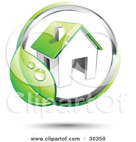 Clipart Illustration of a Pre-Made Logo Of A Circling Dewy Green Leaf Around A Home by beboy