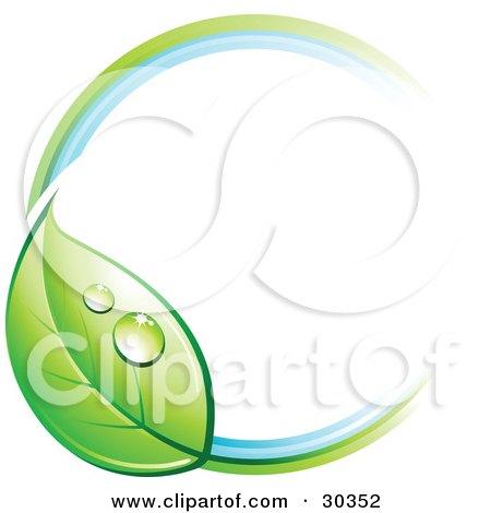 Orange Circle With Green Leaf Logo Pre-made logo of a circle withOrange Circle With Green Leaf Logo