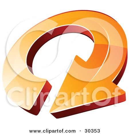 Clipart Illustration of a Pre-Made Logo Of An Orange Circling Arrow by beboy
