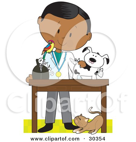 Clipart Illustration of a Black Male Veterinarian With A Bird On His Shoulder, Bandaging Up An Injured Puppy, A Cat At His Feet. by Maria Bell