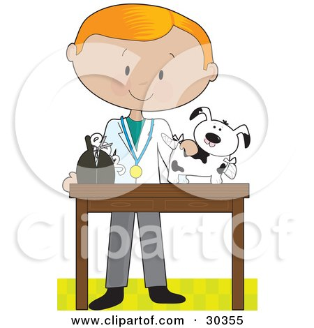 Clipart Illustration of a Blond White Male Veterinarian, Bandaging Up An Injured Puppy by Maria Bell