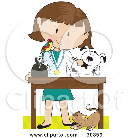 Clipart Illustration of a Cat At A White Female Veterinarian's Feet As She Bandages Up A Puppy, A Bird Perched On Her Shoulder by Maria Bell