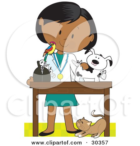 Clipart Illustration of a Female Latina Veterinarian With A Bird On Her Shoulder, Bandaging Up An Injured Puppy, A Cat At Her Feet by Maria Bell