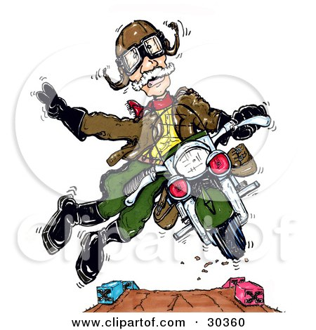 Clipart Illustration of a Spunky Senior Ww2 Vet Man Doing Stunts On A Motorcycle by Spanky Art