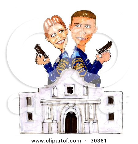 Clipart Illustration of a Man And Woman, Alamo Police Partners, Standing Back To Back At The Ready With Guns by Spanky Art