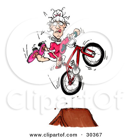 Clipart Illustration of a Spunky Old Granny In A Pink Dress, Doing A Seat Grab Stunt Trick While Catching Air Off Of A Ramp by Spanky Art
