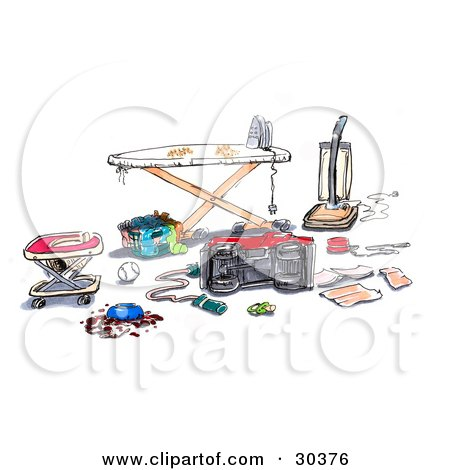 Royalty-free clipart picture of a messy household with a baby