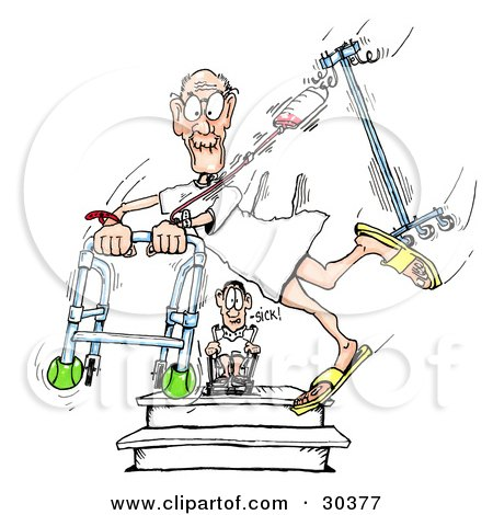 Clipart Illustration of an Amazed Hospital Patient In A Wheelchair, Watching A Friend Run Through The Halls With A Walker And Fluids by Spanky Art