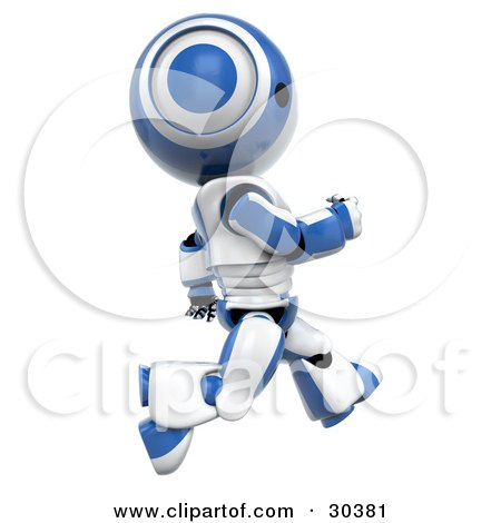 Clipart Illustration of a Fast 3D Blue And White AO-Maru Robot Running By by Leo Blanchette