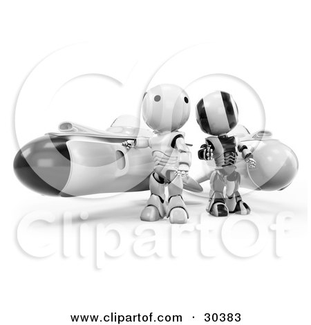 Clipart Illustration of a 3D Racing Team Of Black And Chrome AO-Maru Robots Standing Beside Their Hover Rocket Missiles by Leo Blanchette