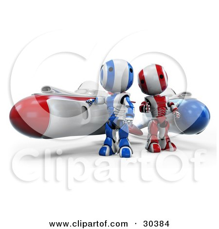 Clipart Illustration of a 3D Racing Team Of Red amd Blue AO-Maru Robots Standing Beside Their Hover Rocket Missiles by Leo Blanchette