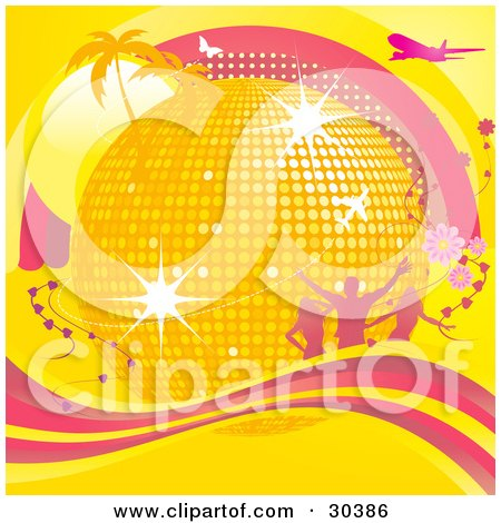Clipart Illustration of a Golden Disco Ball Surrounded By Palm Trees, Sunshine, Silhouetted People, Flowers, Airplanes And Butterflies And A Wave Of Pink And Yellow by elaineitalia