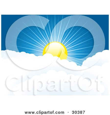 Clipart Illustration of a Shiny Yellow Sun Peaking Over Puffy White Clouds, With Rays Of Light Cast Through The Deep Blue Sky by elaineitalia