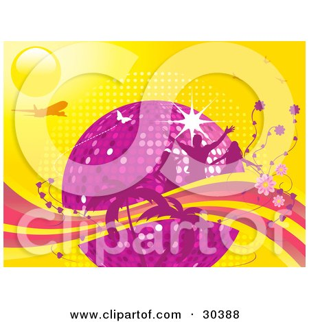 Clipart Illustration of a Purple Disco Ball Surrounded By Silhouetted Pink People, Flowers And Palm Trees With An Airplane And Butterflies On A Yellow Background by elaineitalia