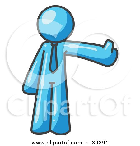 Clipart Illustration of a Light Blue Business Man Giving the Thumbs Up by Leo Blanchette