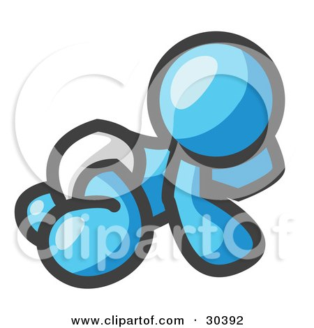 Clipart Illustration of a Light Blue Baby In A Diaper, Crawling On The Floor, On A White Background by Leo Blanchette