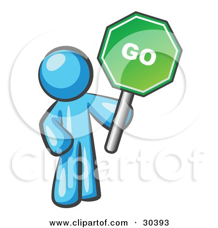 Clipart Illustration of a Light Blue Man Holding Up A Green Go Sign, On A White Background by Leo Blanchette